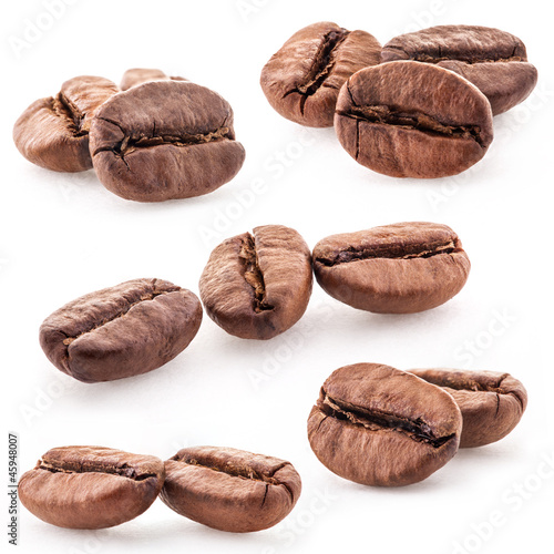 Coffee beans on white background, closeup