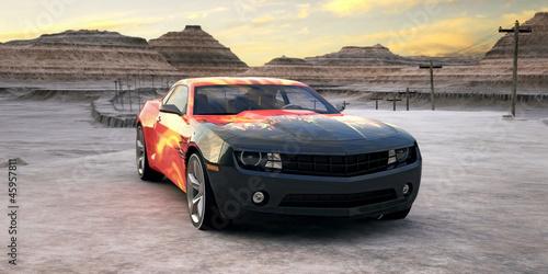 amerykanski-sportowy-samochod-chevrolet-camaro-na-pustynnej-scenerii