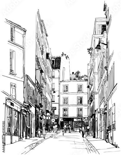 Recess Fitting Illustration Paris street near Montmartre in Paris