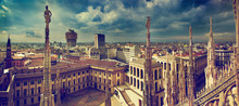Milan, Italy. City Panorama. View On Royal Palace