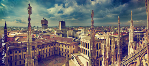 Spoed Foto op Canvas Milan Milan, Italy. City panorama. View on Royal Palace