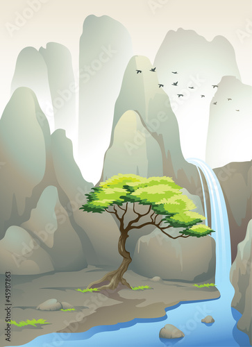 Wall Murals Birds, bees beautiful waterfall and mountains