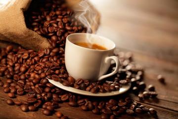 Panel Szklany Do kawiarni tazzina di caffè fumante