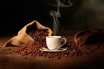 Naklejka tazzina di caffè fumante