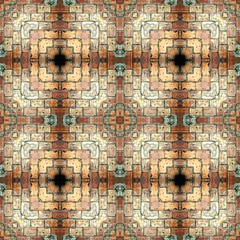 Fototapeta Seamless brick pattern, aged floor tiles