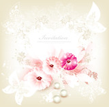 Cute invitation wedding card with flowers
