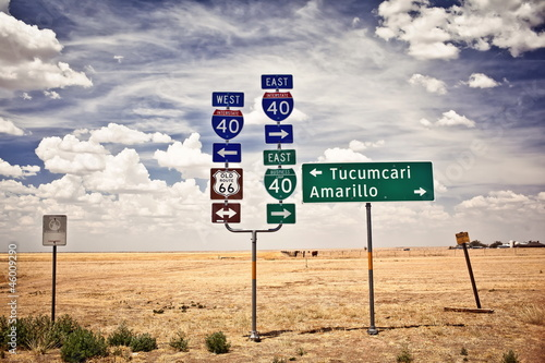Poster Texas Route 66 intersection signs