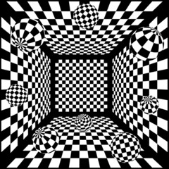 Panel Szklany Optyczne powiększenie 3D Abstract black and white chess background with balls