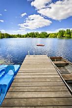Dock On Lake In Summer Cottage...