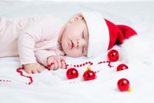 Sleeping Baby Girl Santa Claus