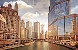 Panoramę Chicago o zachodzie słońca