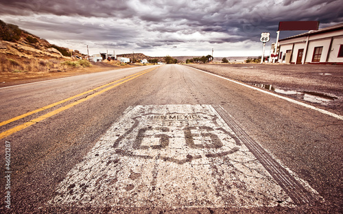 Aluminium Prints Route 66 An old Route 66 shield painted on road