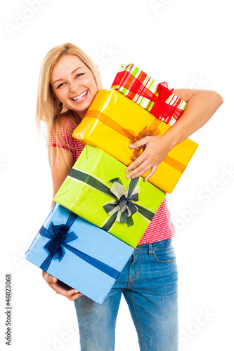 Fotografie, Obraz  Young attractive laughing woman with gifts