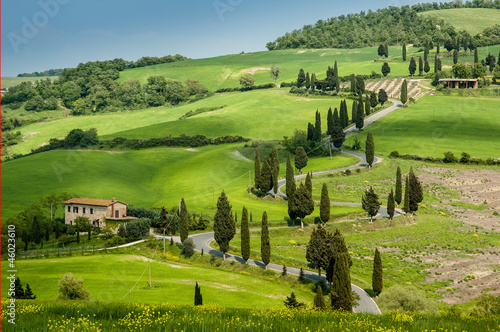 Poster Toscane Road with curves and cypresses in Tuscany, Italy
