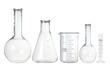 Leinwandbild Motiv Test-tubes isolated on white. Laboratory glassware