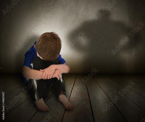 Sad Abused Boy with Anger Shadow Canvas Print