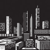 Cityscape by night - vector illustration