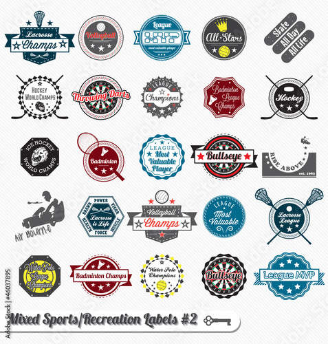 Photo  Vector Set: Vintage Mixed Sports Labels and Icons