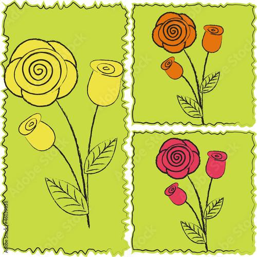 Fototapeta Three icons of roses obraz na płótnie