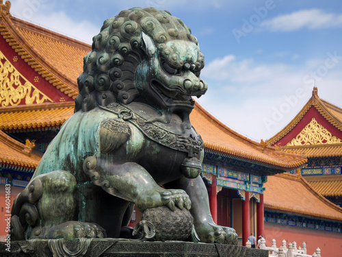 Foto op Aluminium Beijing Lion in Forbidden City Beijing