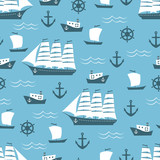 Seamless pattern with sailing ship