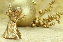 Christmas Angel Playing A Flute