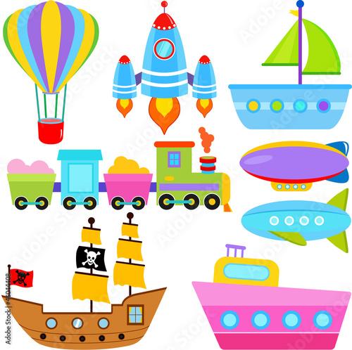 wektorowe-ikony-lodz-statek-pojazdy-powietrzne-transport
