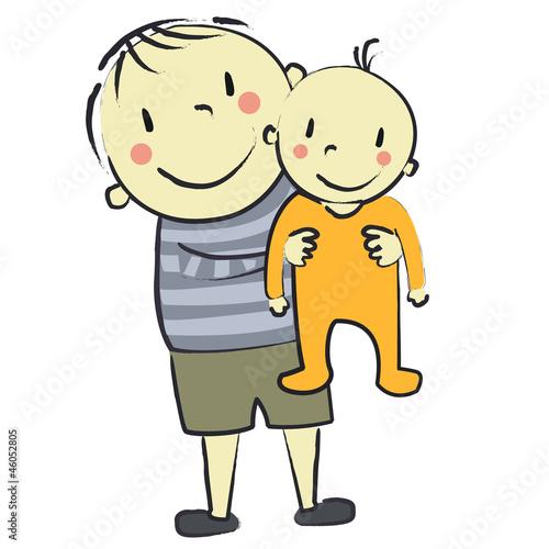 Fotografie, Obraz  faire part bébé orange avec garçon