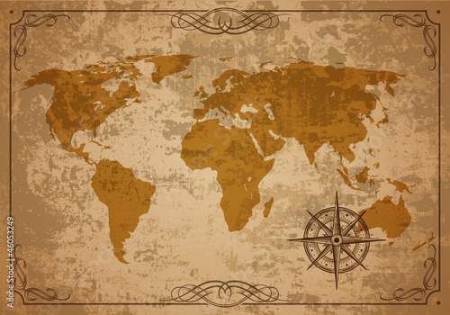 Old Map. Vector Paper texture
