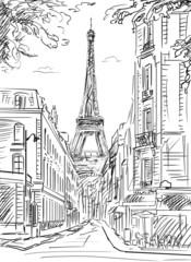 Panel Szklany Uliczki Street in paris - illustration