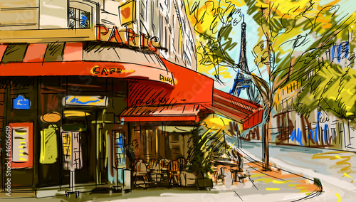 Photo sur Toile Illustration Paris Street in paris - illustration
