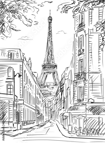Deurstickers Illustratie Parijs Street in paris - illustration