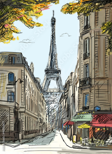 Foto op Plexiglas Illustratie Parijs Street in paris - illustration
