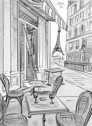 Poster de jardin Illustration Paris Street in paris -sketch illustration