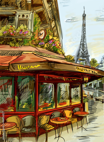 Deurstickers Illustratie Parijs Paris street - illustration