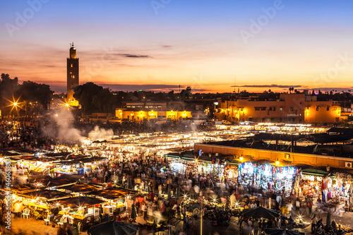 Foto op Canvas Marokko Marrakesch, Djemaa el Fna, Marokko