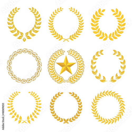 Fotografie, Obraz  golden laurel wreaths