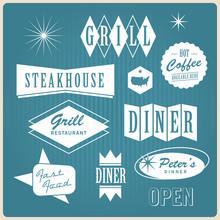 Vintage Restaurant Logo, Badges And Labels
