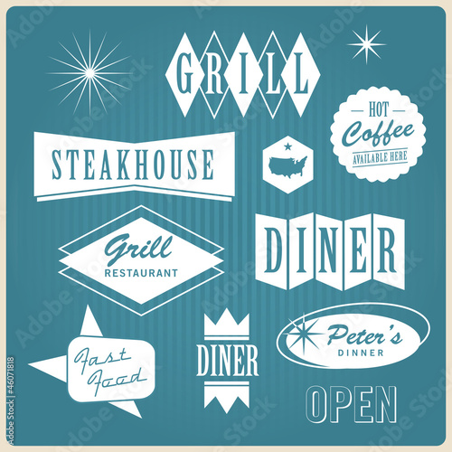 Fotografia  Vintage restaurant logo, badges and labels