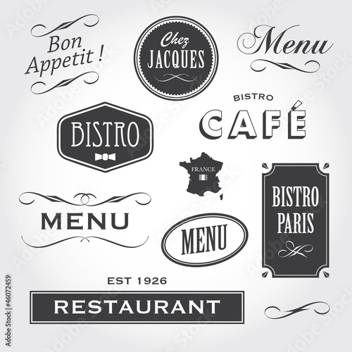 Fotomural vintage ornaments and signs french restaurant