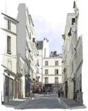 ulica w pobliżu Montmartre w Paryżu - 46072839