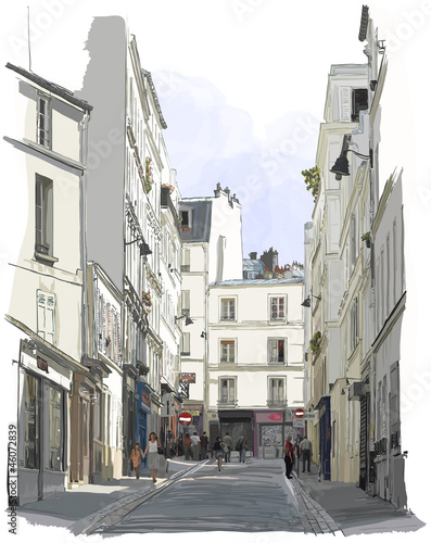 Photo sur Toile Art Studio street near Montmartre in Paris