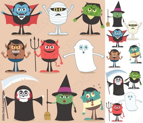 Foto op Canvas Schepselen Halloween Characters