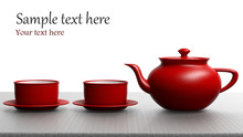 Red Tea Set On White Background