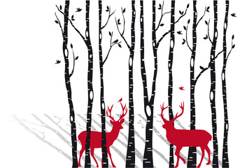 Fototapetabirch trees with christmas deers, vector