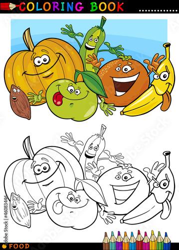 Tuinposter Doe het zelf fruits and vegetables for coloring