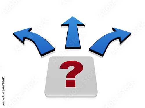 Fotografie, Obraz  question-mark sign with arrows