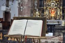 Open Bible In Church Close Up
