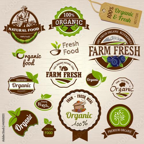 Fotografiet  Set of Fresh Organic labels and elements