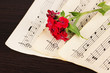 Musical notes and flower on wooden table